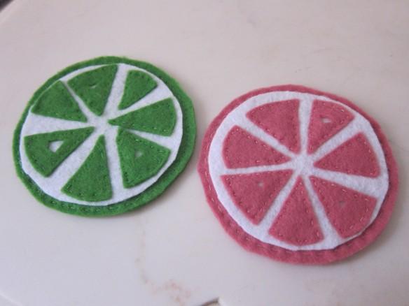 Citrus felt coasters