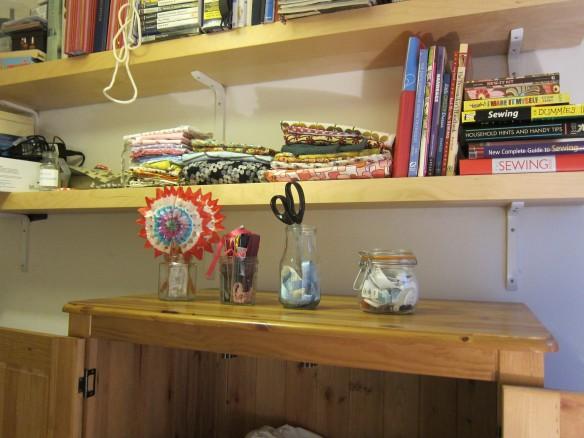 Fabric stash shelf