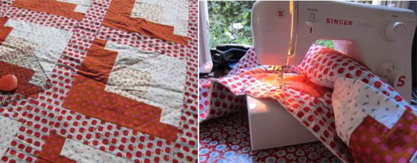 Drawing quilting lines then sewing 'em in
