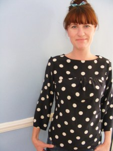 Smock top in polka dot
