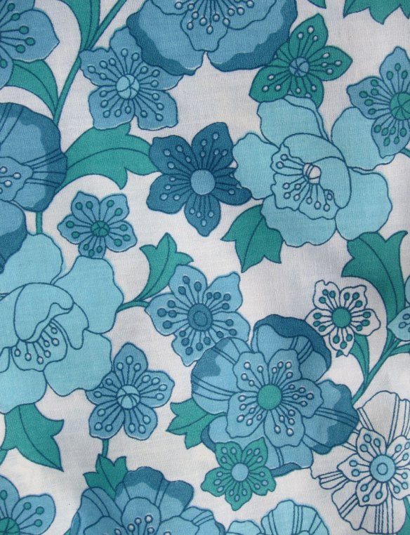 Sixties blue floral cotton