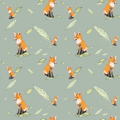 Foxes fabric by Nicola Clare (Spoonflower)