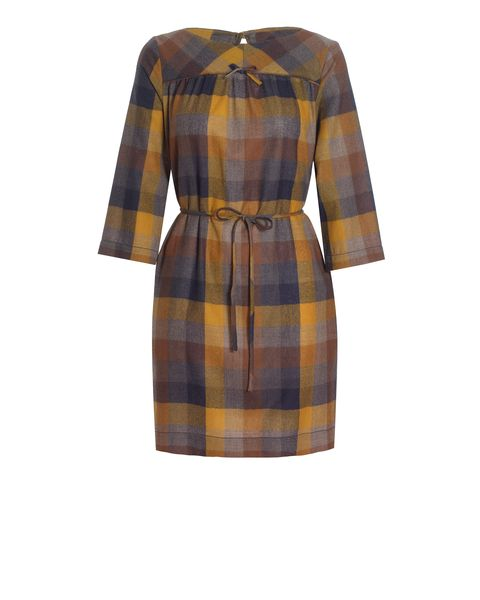 Large check wool dress