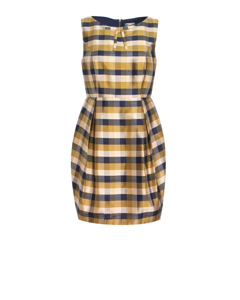 Silk Check Tulip Skirt Dress