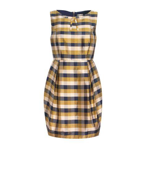 Silk Check Tulip Skirt Dress