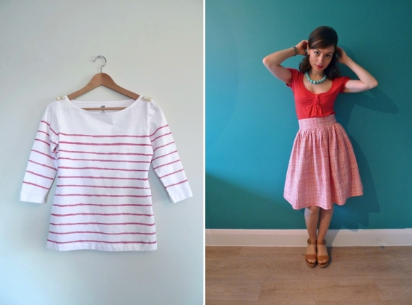Tilly's hand-painted Breton top and Life's Too Short skirt