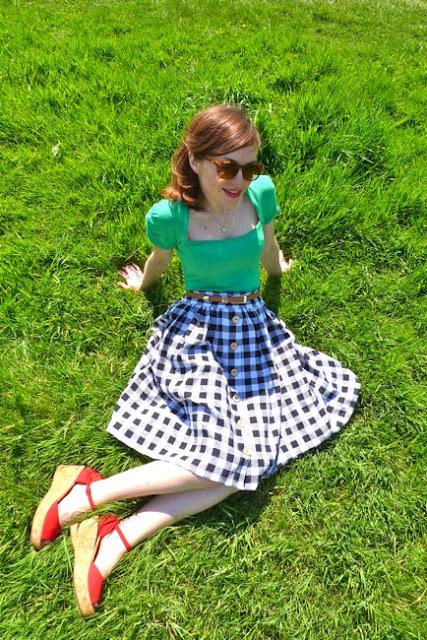 Tilly in her Picnic Blanket skirt