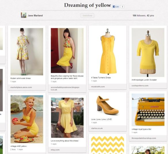 Jane's yellow Pinterest board