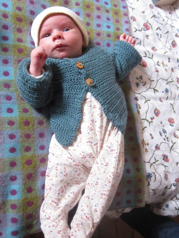 George modelling his crocheted cardigan!